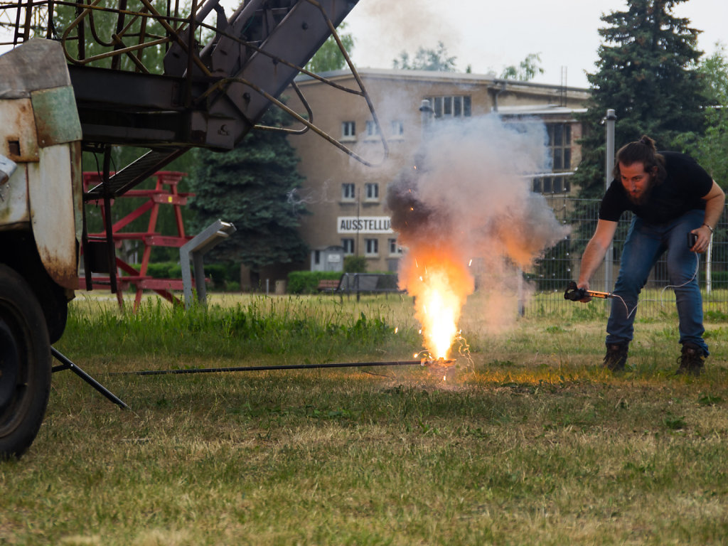 BTS shot of pyro BTS shot
